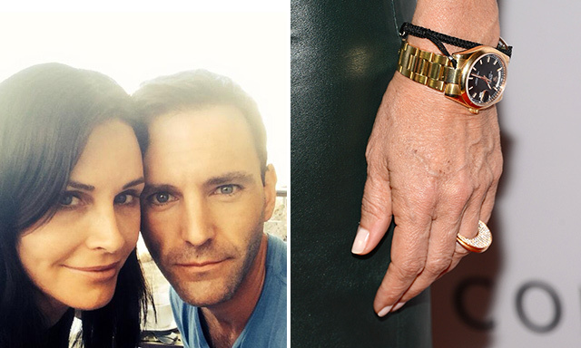 COURTENEY COX: Courteney Cox became engaged to Johnny McDaid while the two were on a romantic getaway in Turks and Caicos to celebrate her 50th birthday. The ring appears to be a simple, tasteful diamond band.