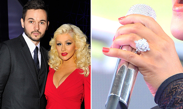 CHRISTINA AGUILERA: Christina's unusual engagement ring from fiancé Matt Rutler features nine multicolour gemstones hidden from public view (and with particular significance), diamonds on petal-shaped accents and interwoven bands.