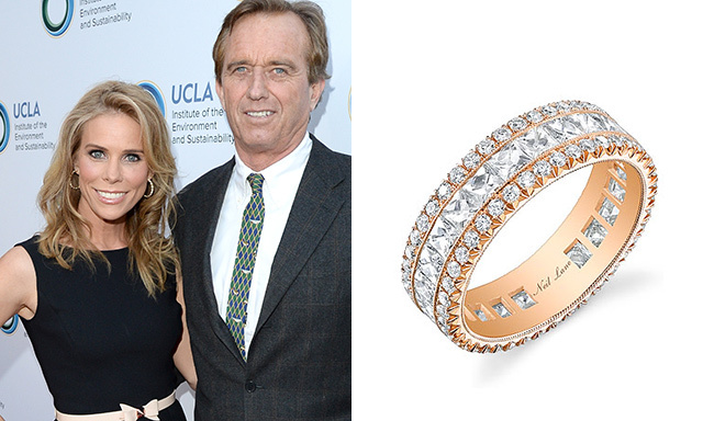 CHERYL HINES: Cheryl forewent the traditional engagement ring with a central diamond for a less conventional style. The bride, who married Robert F. Kennedy Jr. in August, chose a five-carat, Neil Lane diamond band that matches her rose-gold wedding ring.