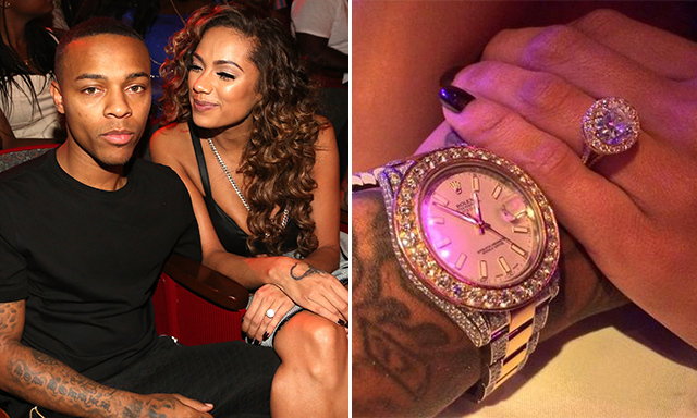 ERICA MENA: After a six-month romance, rapper Bow Wow proposed to girlfriend Erica with an enormous circular diamond set in gold. Naturally, Bow Wow bought himself a gold-and-diamond Rolex to match!