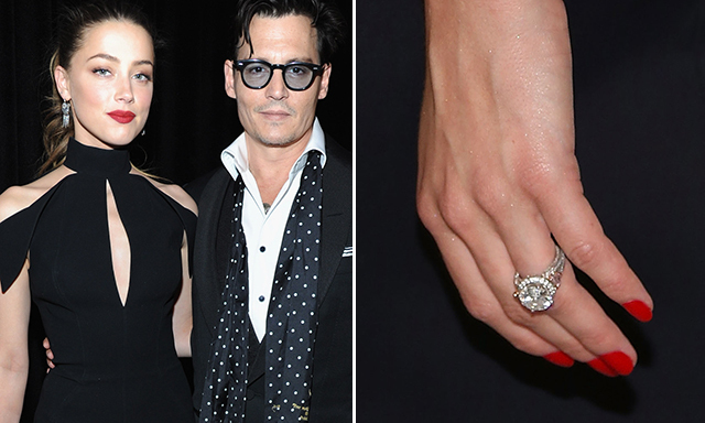 AMBER HEARD: Johnny Depp loves his fiancée's engagement ring so much that he sometimes borrows it to wear himself! Diamond experts have estimated the ring to be a five-carat, oval diamond valued at around $100,000.