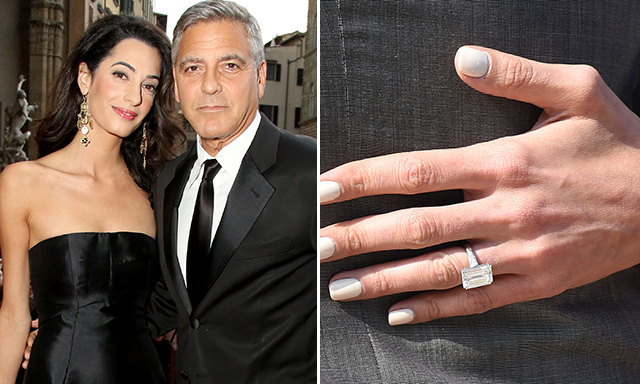 AMAL CLOONEY: Bachelor no more! George presented his barrister bride with an exquisite seven-carat diamond, reportedly worth $750,000, in April. Four months later, the pair were officially wed in a star-studded ceremony in Venice.