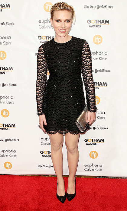 Newlywed Scarlett Johansson attended the Gotham Independent Film Awards in a sparkly frock by Saint Laurent with scalloped lace and sequin embellishments. The actress grunged up her look with a slick 'do and copper smoky eye.