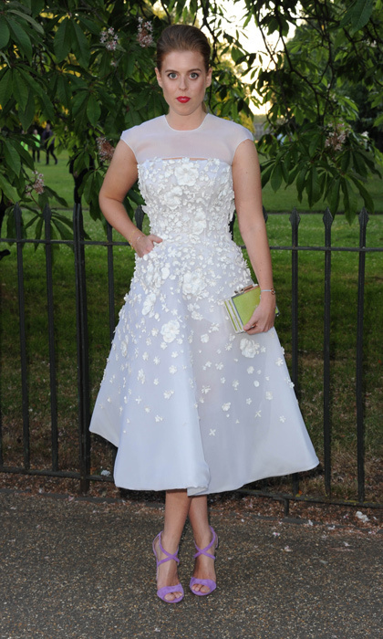 Art and high fashion collide at the Serpentine Gallery's annual summer party, and Princess Beatrice was no exception. We love the collision of textures on her flattering frock, with its floral embellishments and sheer neckline. Must-try: a nude or winter-white dress with punchy pink heels and a colourful clutch!