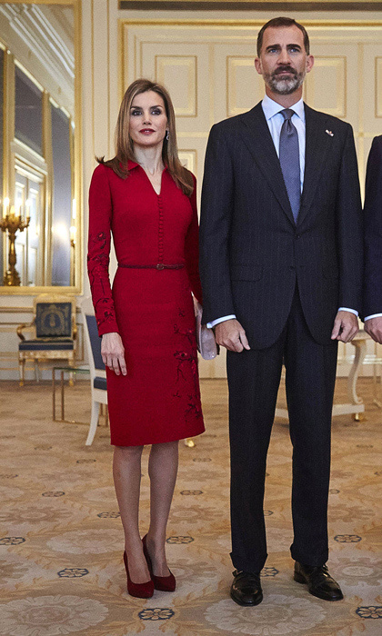 King Felipe VI and Queen Letizia could attend any holiday soiree in these ensembles, though they're pictured here at the royal palace Noordeinde in The Hague, Netherlands on an official visit in Oct. 2014. Want to spice up your holiday red? Try something with embroidery for a little shine.