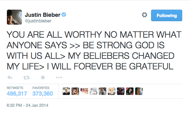 1. Justin Bieber tweets after his DUI arrest. (485,846 RTs)