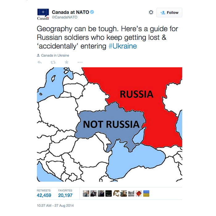 3. Canadian Joint Delegation to NATO Tweets a map for Russian soldiers (42,415 RTs)
