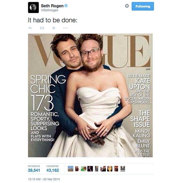 4. Seth Rogen tweets a spoof of Kim and Kanye's 'Vogue' cover. (39,546 RTs)