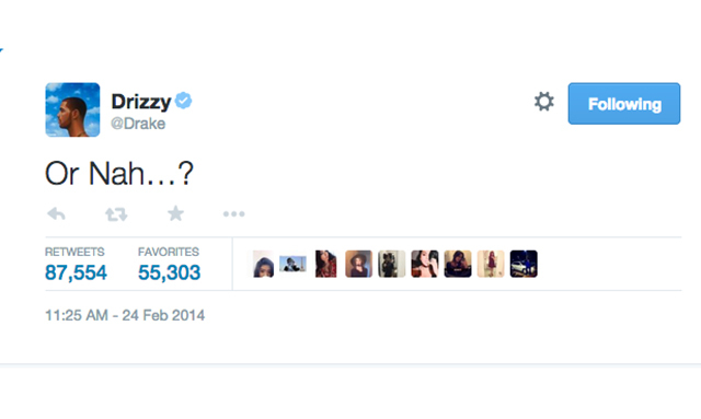 2. Drake hints at collaboration with Ty Dolla Sign and The Weeknd. (87,530 RTs)