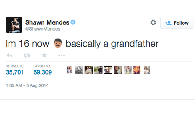 7. Tweet from up-and-coming Canadian musician, Shawn Mendes, on his 16th birthday. (35,705 RTs)