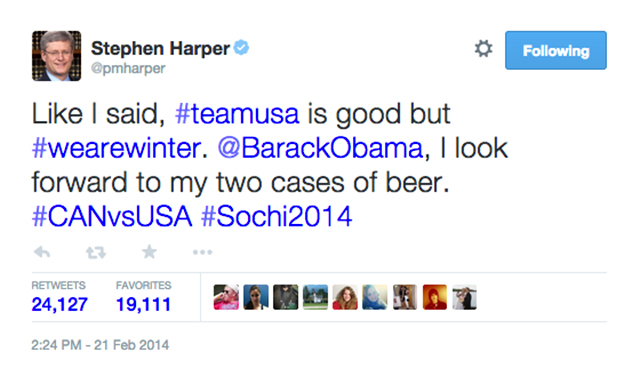 10. Prime Minister Stephen Harper makes a fun bet with Barack Obama during the Winter Olympics. (24,132 RTs)