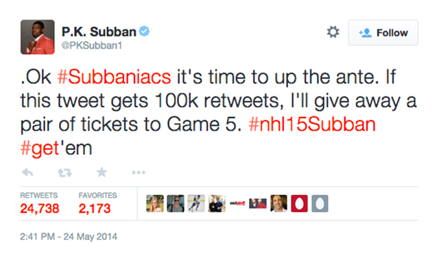 9. PK Subban rallies fans and gives away tickets to see the Montreal Canadiens in action during the playoffs. (24,746 RTs)