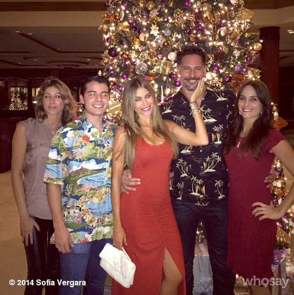 Getting serious: Joe met some of Sofia's family as they celebrated Christmas together in Hawaii.