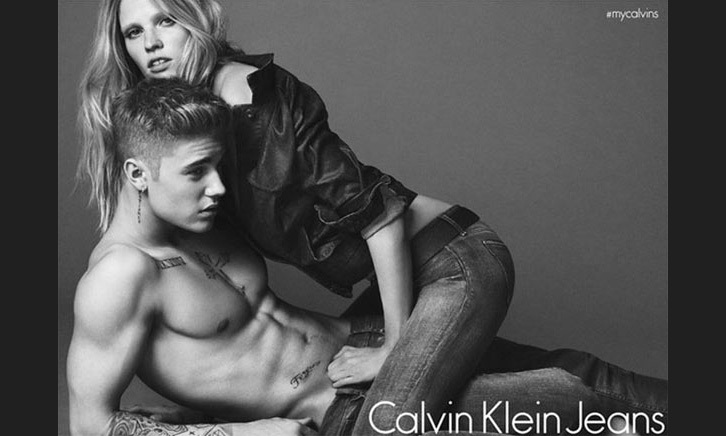 Justin Bieber and Lara Stone for Calvin Klein