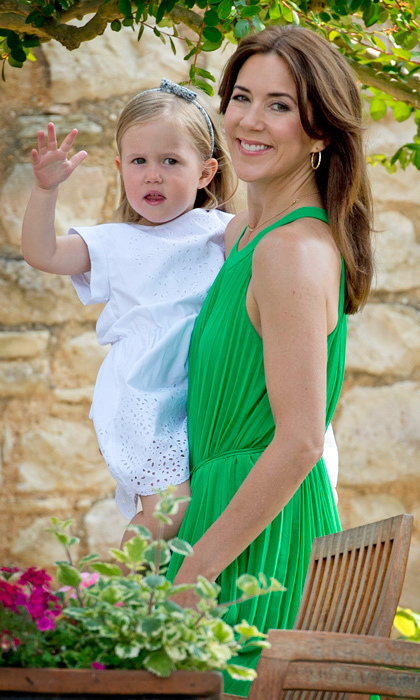 Princess Mary and her youngest daughter beamed for the cameras during a photo session to celebrate Prince Henrik's 80th birthday in June 2014. (Photo: © Patrick Van Katwijk/DPA/ZUMA/Keystone Press)