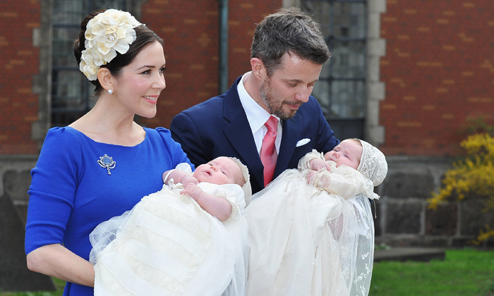 At three months old, the twins were christened on April 14, 2011 in Copenhagen. 