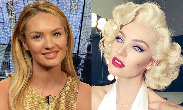 candice swanepoel channels marilyn monroe with make up transformation