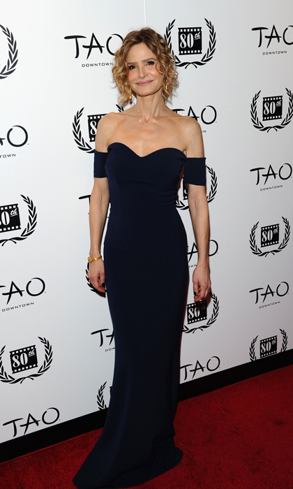 At the New York Film Festival's Critics Circle Awards, Kyra Sedgwick stunned in a sophisticated off-the-shoulder gown from SAFiYAA's pre-fall collection and Fred Leighton jewelry.