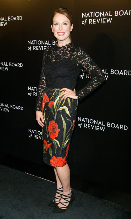 Everything was coming up roses (well, carnations) for Julianne Moore at the National Board of Review Gala in New York City. The Golden Globe nominee opted for a floral Dolce & Gabbana dress with lace bodice, and strappy Aquazzura pumps.