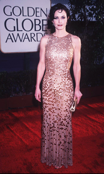 Courteney Cox shone in a body-skimming gown with metallic square appliqués in 1997. (Photo by SGranitz/WireImage)