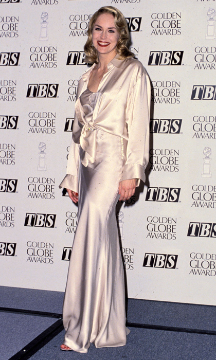 <em>Basic Instinct</em> star Sharon Stone turned heads in an elegant silk cream-coloured ensemble paired with a slick of red lipstick in 1995. (Photo by SGranitz/WireImage)