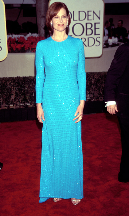 Sigourney Weaver shimmered in a long-sleeved, vibrant-blue gown that complemented the actress's auburn locks. (Photo by KMazur/WireImage)