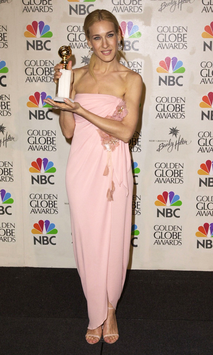Renowned for her kooky ensembles on <em>Sex and the City</em>, Sarah Jessica Parker took her fashion A-game to the 2001 Golden Globes. She accepted her award for Best Actress in a pale-pink Emanuel Ungaro dress with flower detailing. (Photo by SGranitz/WireImage)