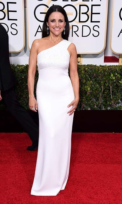 'Veep' star Julia Louis-Dreyfus was gorgeous in a one-shouldered white Narciso Rodriguez number. 