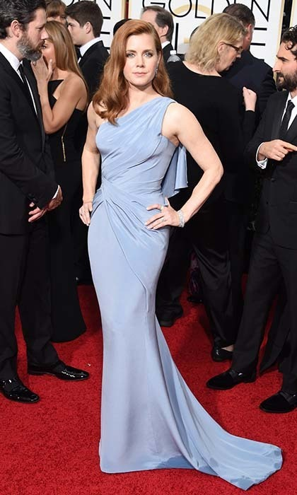 Amy Adams never looked lovelier in a one-shouldered cornflower-blue Versace number. 
