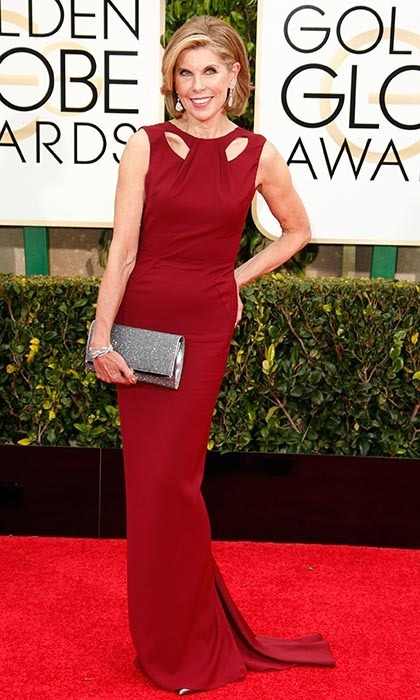 Christine Baranski, 62, showed off her amazing figure in red Zac Posen. 