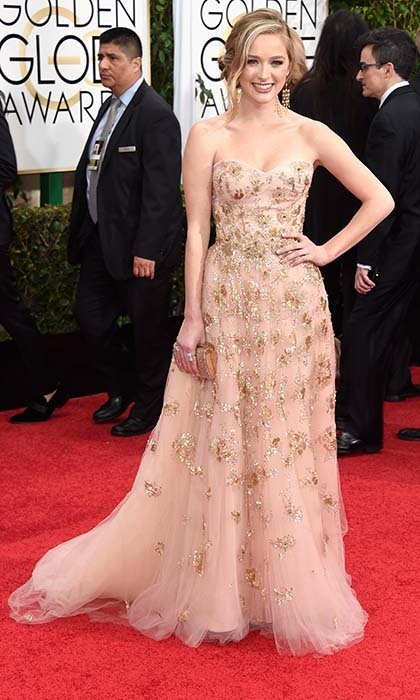 Miss Golden Globe a.k.a. Greer Grammer turned heads in a romantic blush-coloured gown with gold embroidery by Lorena Sarbu.