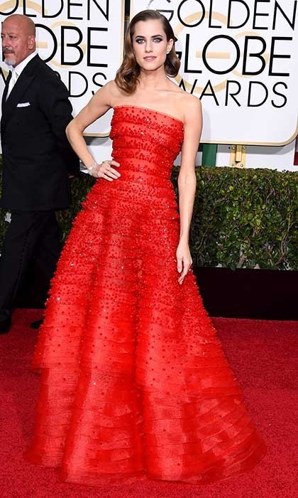 Allison Williams was ravishing in a layered red Armani Privé gown. 