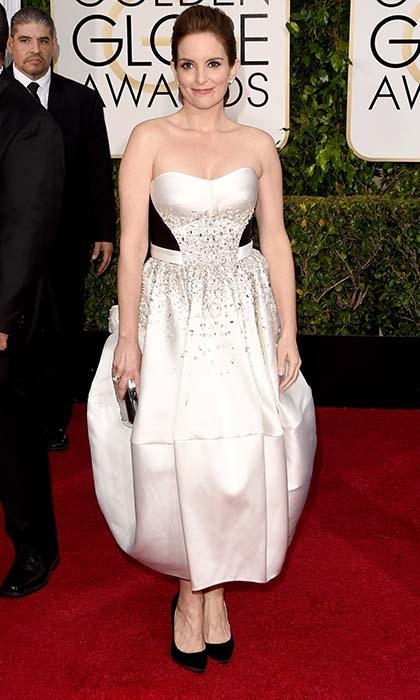Host Tina Fey chose a custom Antonio Berradi gown. 