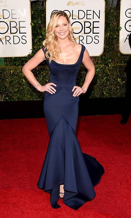 "Katherine Heigl embraced her curves in navy-blue Zac Posen. ""[He's] my dream designer!"" she gushed.