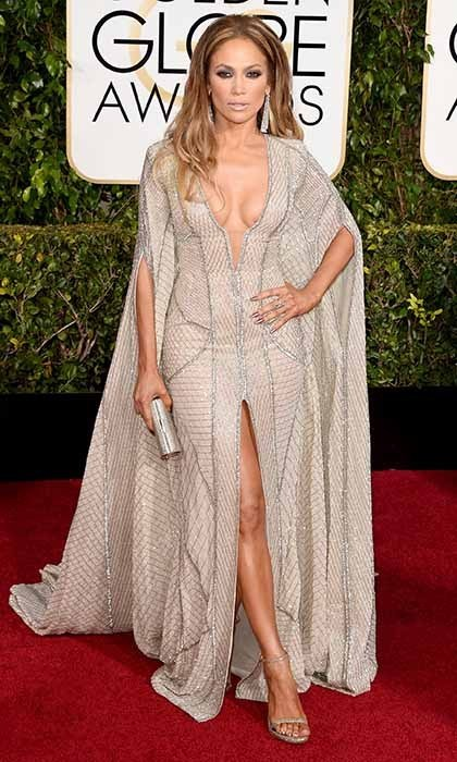 Va-va-voom! Jennifer Lopez turned heads in a caped Zuhair Murad gown, which featured plunging décolletage a dramatic, thigh-high slit.