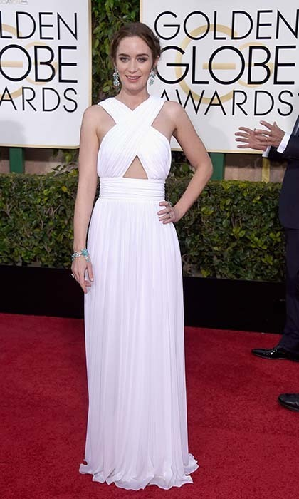 Emily Blunt did her best Greek goddess impression in flowing white Michael Kors. 