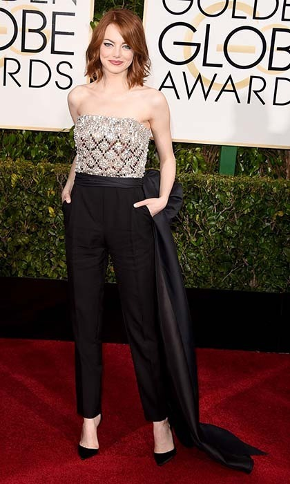 Emma Stone opted for a Lanvin jumpsuit with a bejewelled bodice. 
