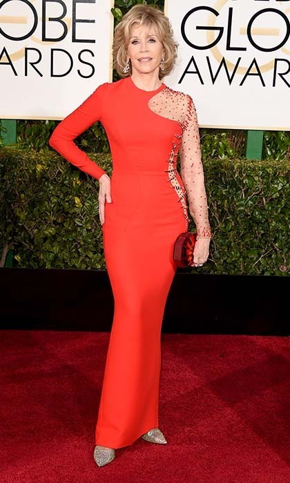 Another red-hot number! Jane Fonda embraced this year's hottest hue with a vibrant Versace gown that hugged all her curves. 