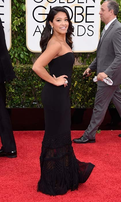 'Jane the Virgin' star Gina Rodriguez was stunning in a black Badgley Mischka gown paired with Jimmy Choo sandals. 