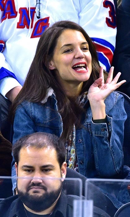 Katie Holmes wasn't afraid to shout out her love for her team at Madison Square Garden as the New York Islanders took on the New York Rangers. (Photo by James Devaney/GC Images)