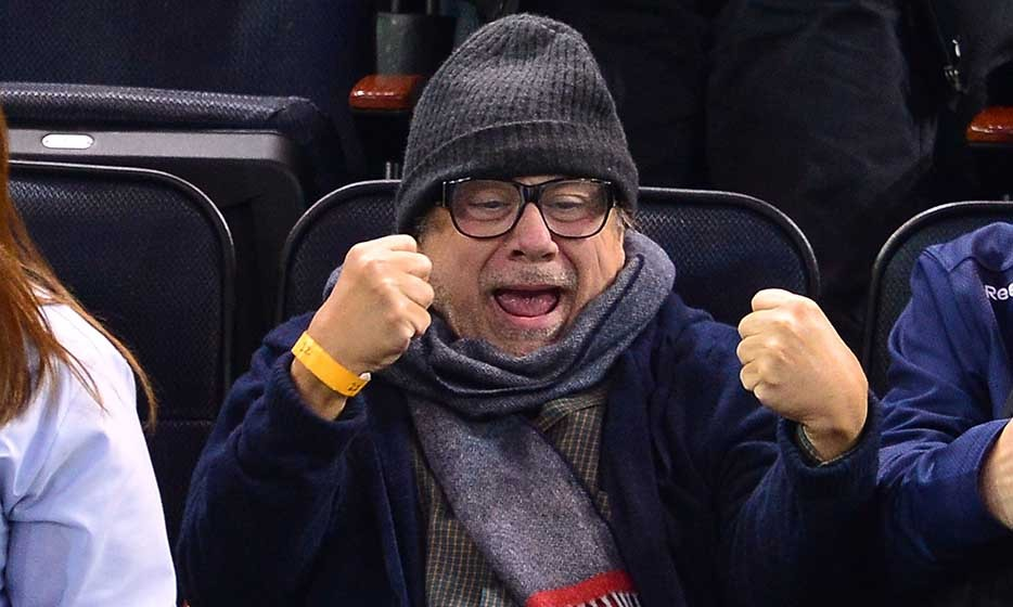 'It's Always Sunny in Philadelphia' star Danny Devito went incognito (or simply staved off a chill) at the Nov. 19 New York Rangers vs. Philadelphia Flyers game. (Photo by James Devaney/GC Images)