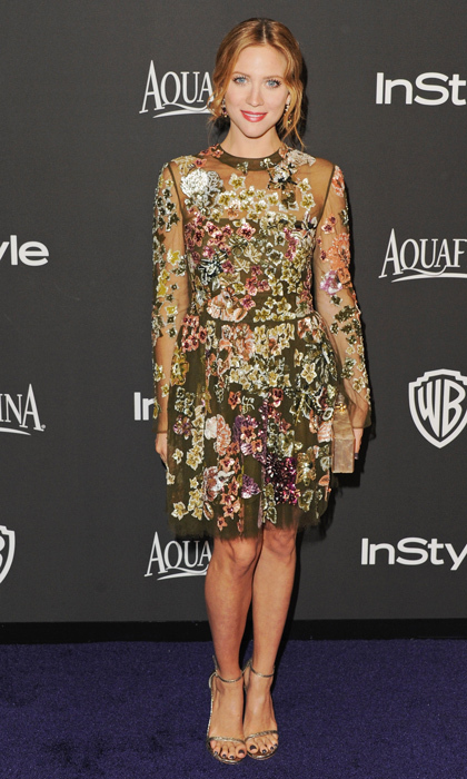 Also at InStyle's post-Golden Globes gala was Brittany Snow, who opted for an olive-toned Valentino gown blooming with floral embellishments and anchored by Stuart Weitzman's 'Nudist' heels.