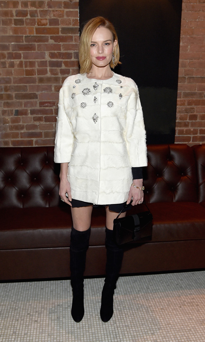 'Still Alice' actress Kate Bosworth traded her beaded Oscar de la Renta slip dress for a trendy black mini dress and collarless crystal-embellished J. Mendel topper, plus thigh-high suede Stuart Weitzman boots!