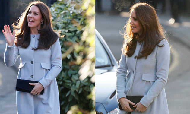 0d0aa66b87e The Duchess of Cambridge wraps her baby bump in Seraphine maternity coat