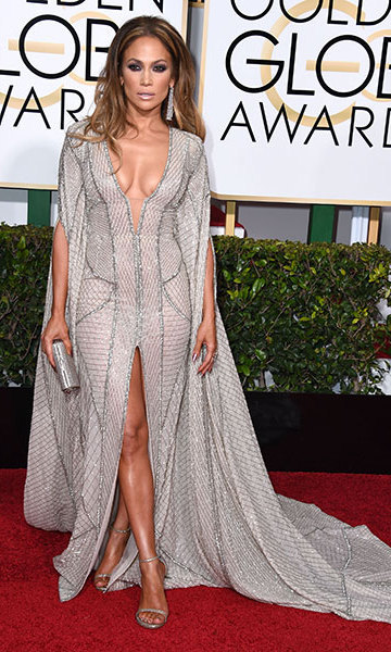 Rocking an edgy Zuhair Murad gown at the 2015 Golden Globes. 