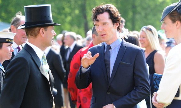 A longer-haired Benedict Cumberbatch chatted with Prince Edward at the Queen's garden party in June 2013.
