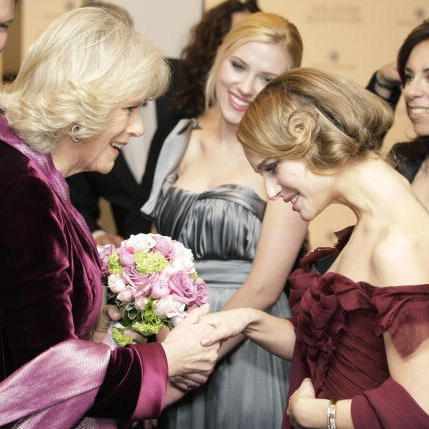 Natalie Portman and Scarlett Johansson greeted the Duchess of Cornwall in 2008 as they premiered their film 'The Other Boleyn Girl.'