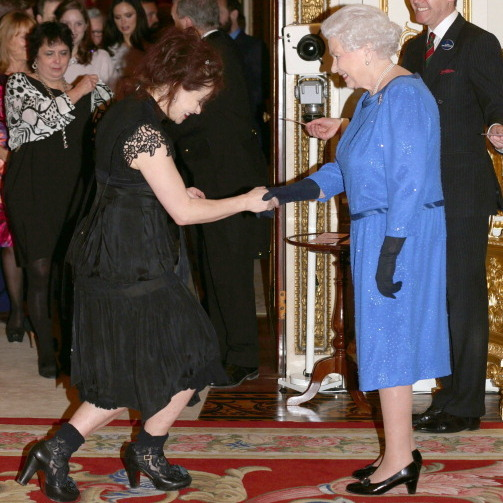 HBC meets HRH: Helena Bonham Carter broke out into a wide grin while greeting the Queen at the Dramatic Arts event in 2014.