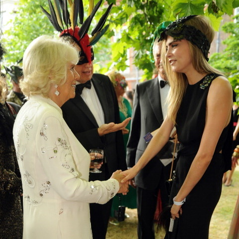 Cara Delevingne shook hands with Camilla at an event to save elephants in the summer of 2013.