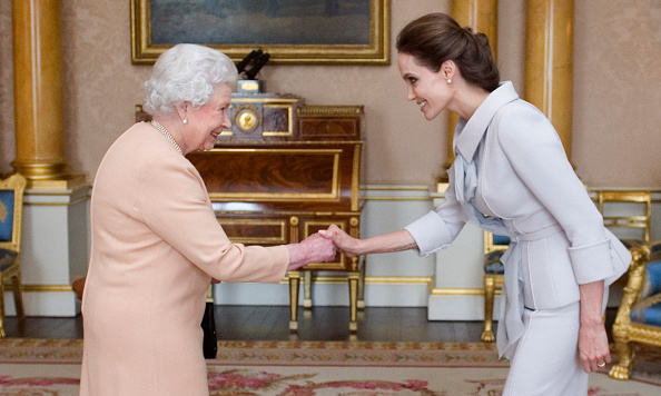 Angelina Jolie had the privilege of meeting Queen Elizabeth in October 2014 when she received honorary damehood for her efforts to combat sexual violence in global war zones.
